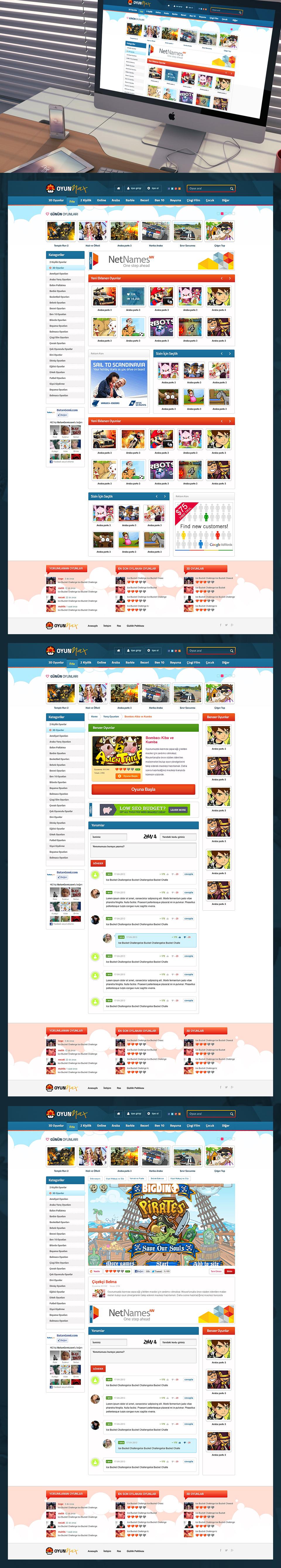 online oyun sitesi tasarımı